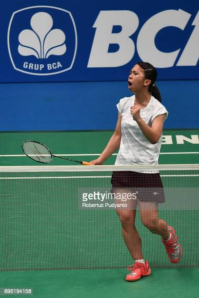 Lyanny Alessandra Mainaky of Indonesia reacts against Jang Mi Lee of Korea during Womens single qualification round match of the BCA Indonesia Open...