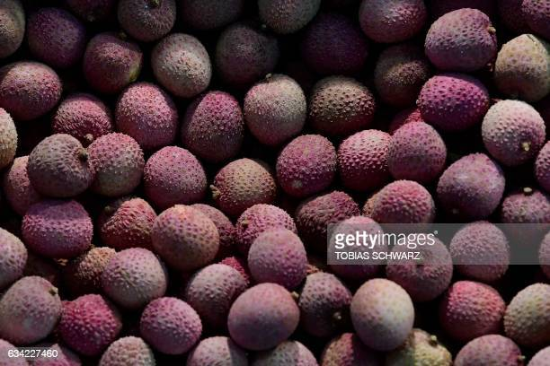 Lychees are on display during the opening day of the 'Fruit Logistica' trade fair in Berlin on February 8 2017 The fair on the fresh food produce...