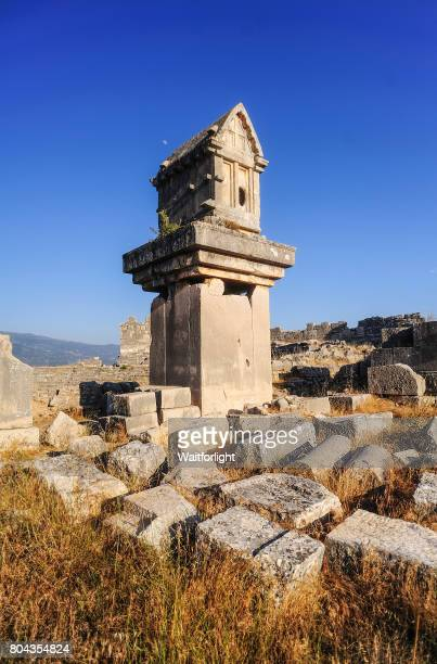 Lycian stone sarcophagus in the mountains of the Xanthos valley, Tlos, Lycia, Southern Turkey