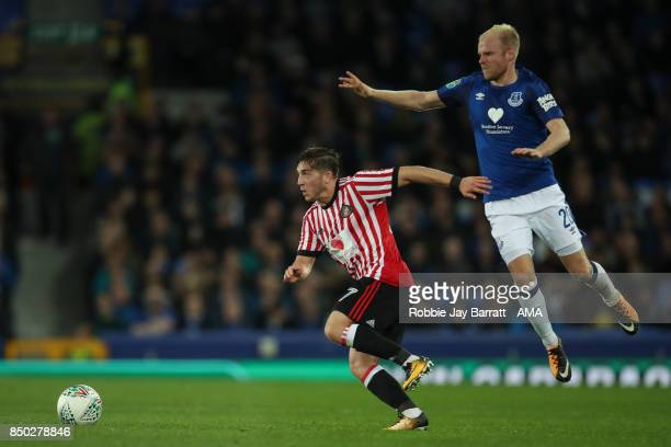 Lyden Gooch of Sunderland and Davy Klaassen of Everton during the Carabao Cup Third Round match between Everton and Sunderland at Goodison Park on...
