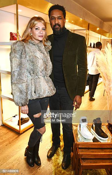 Lydia Ann Countess of Limerick and Tim Wade attend the launch of MCCVIII a collection of luxury sneakers designed by william and brother Carl Gilliam...