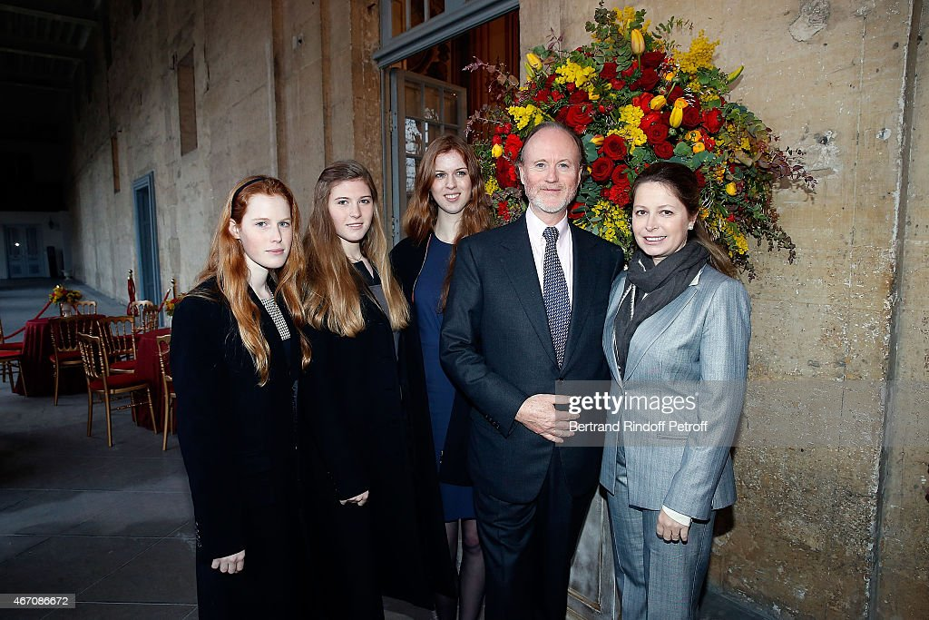 Lydia Athenais d'Arenberg, Dorothee Anastajia d'Arenberg, Alienor d'Arenberg, Sylvie d'Arenberg Berggruen and Pierre d'Arenberg attend the mass given in memory of the 100 year anniversary of Prince Ernest Charles D'Arenberg's death in the First World War at Les Invalides on March 20, 2015 in Paris, France.