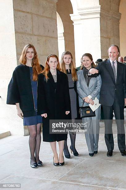 Lydia Athenais d'Arenberg Dorothee Anastajia d'Arenberg Alienor d'Arenberg Sylvie d'Arenberg Berggruen and Pierre d'Arenberg attend the mass given in...