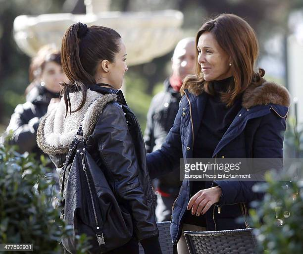 Lydia Bosch and Veronica Sanchez are seen on the set filming 'Robada' on February 26 2014 in Madrid Spain
