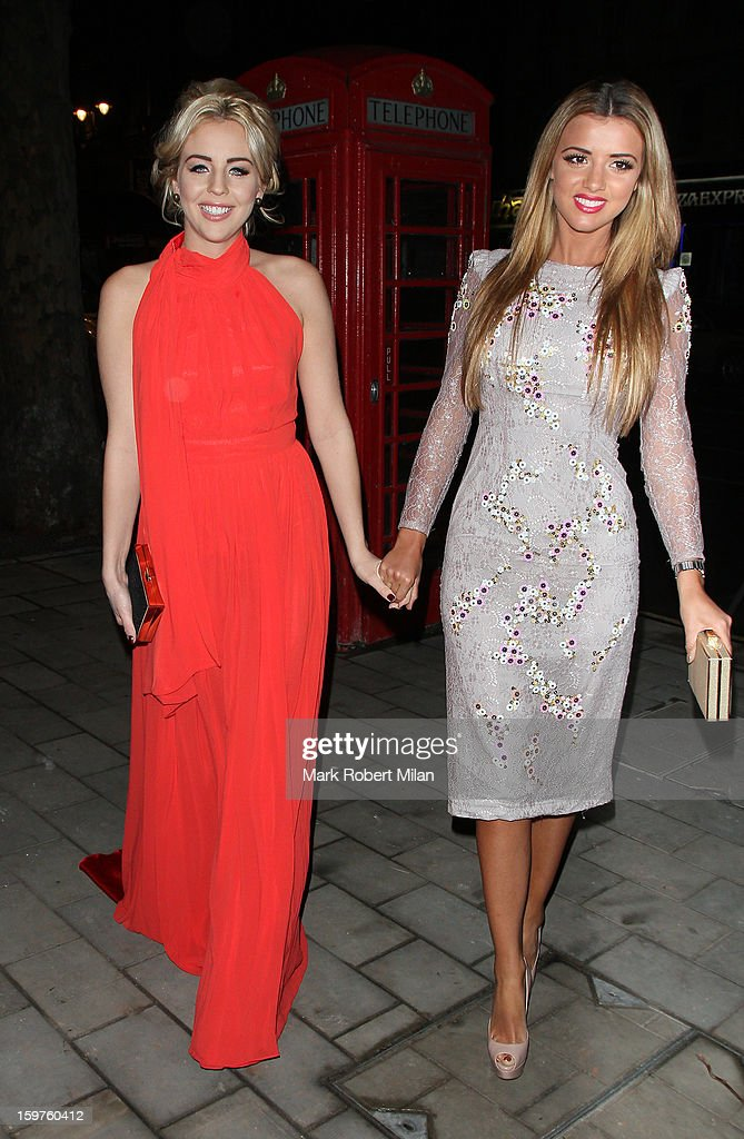 Lydia Bright and <a gi-track='captionPersonalityLinkClicked' href=/galleries/search?phrase=Lucy+Mecklenburgh&family=editorial&specificpeople=8009152 ng-click='$event.stopPropagation()'>Lucy Mecklenburgh</a> at STK London restaurant 25 images on January 19, 2013 in London, England.