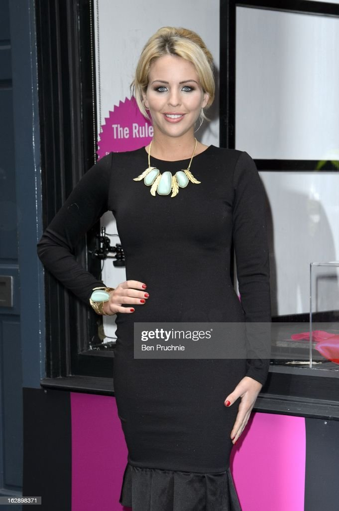 Lydia Bright attends a photocall as girls compete to win a pair of Christian Louboutin shoes on March 1, 2013 in London, England.