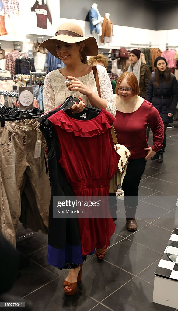 Lydia Bright gives Kate Brackley from 'The Undateables' a makeover at New Look, Oxford St on February 5, 2013 in London, England.