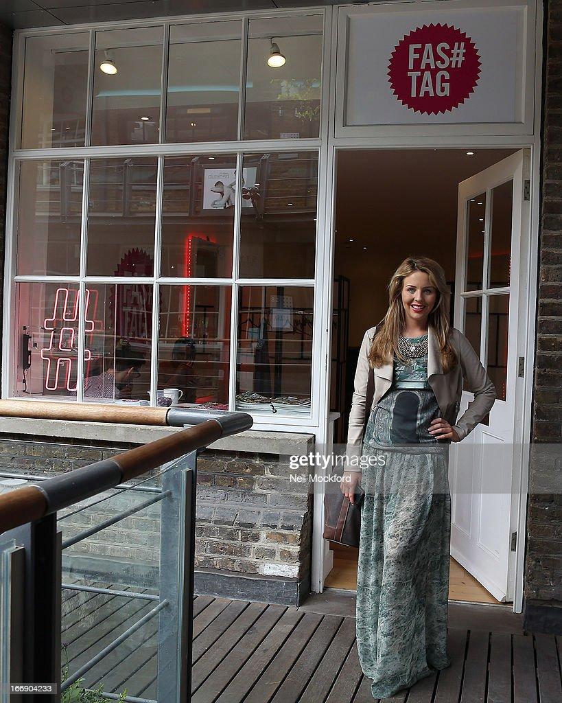 Lydia Bright is pictured leaving 'Fas tag' after finalising plans for the launch of Lydia Bright's clothing line 'Bella Sorella' appearing in a number of pop-up stores around the UK, including Kingly Court off Carnaby St from the 18 - 21 of September 2013 on April 18, 2013 in London, England.
