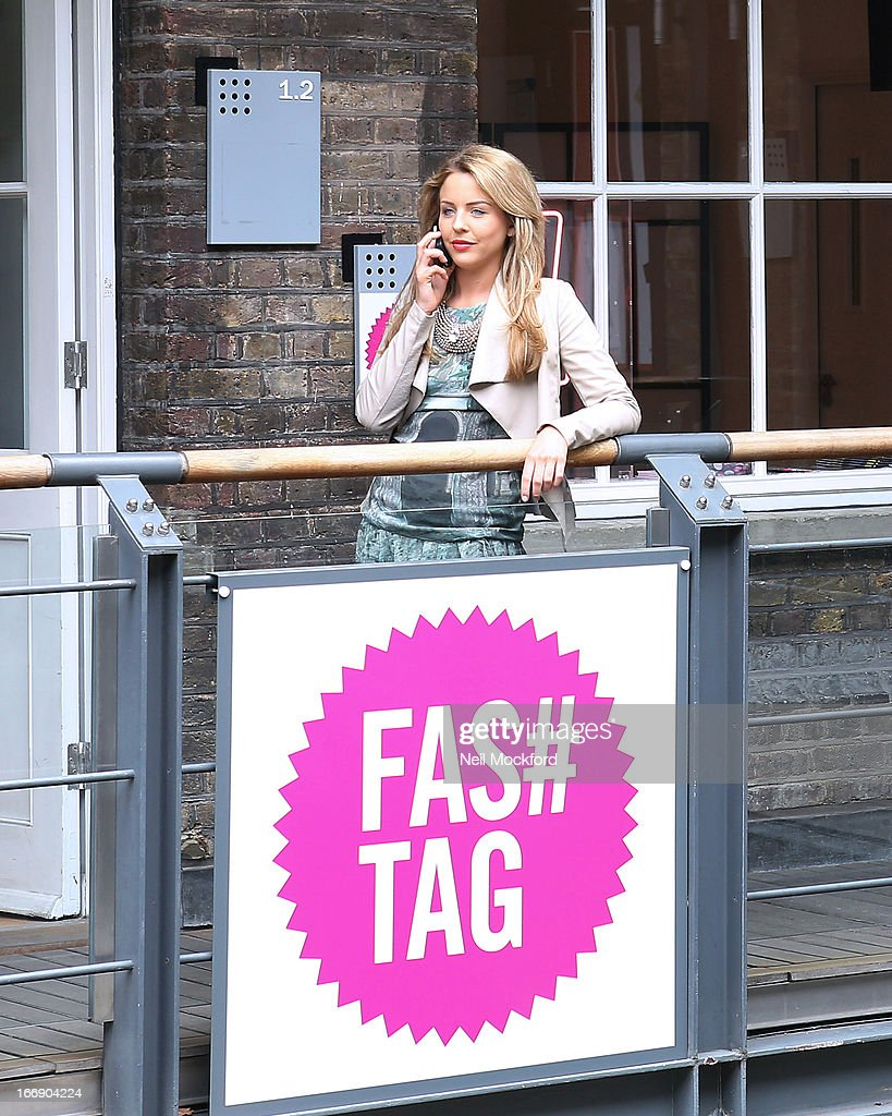 Lydia Bright is pictured outside 'Fas tag' after finalising plans for the launch of Lydia Bright's clothing line 'Bella Sorella' appearing in a number of pop-up stores around the UK, including Kingly Court off Carnaby St from the 18 - 21 of September 2013 on April 18, 2013 in London, England.