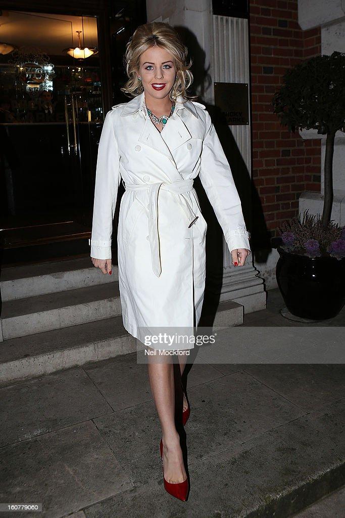Lydia Bright leaving Nicky Clarke Hair Salon on February 5, 2013 in London, England.