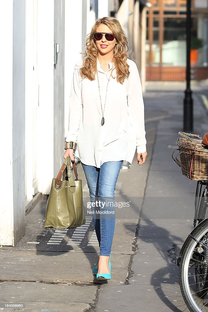 Lydia Bright seen walking in the sunshine as she returns to work on March 19, 2013 in London, England.