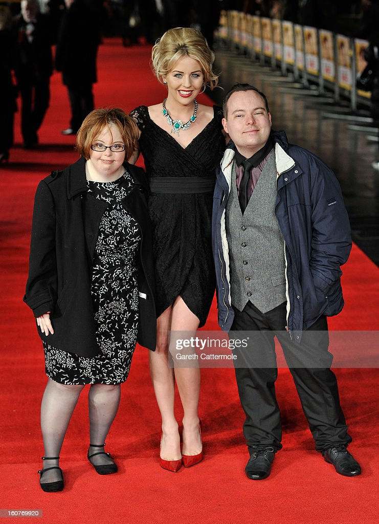 Lydia Bright with Kate Brackley and Simon Macgregor from the 'Undateables' at the UK Premiere of 'Run For Your Wife' at Odeon Leicester Square on...