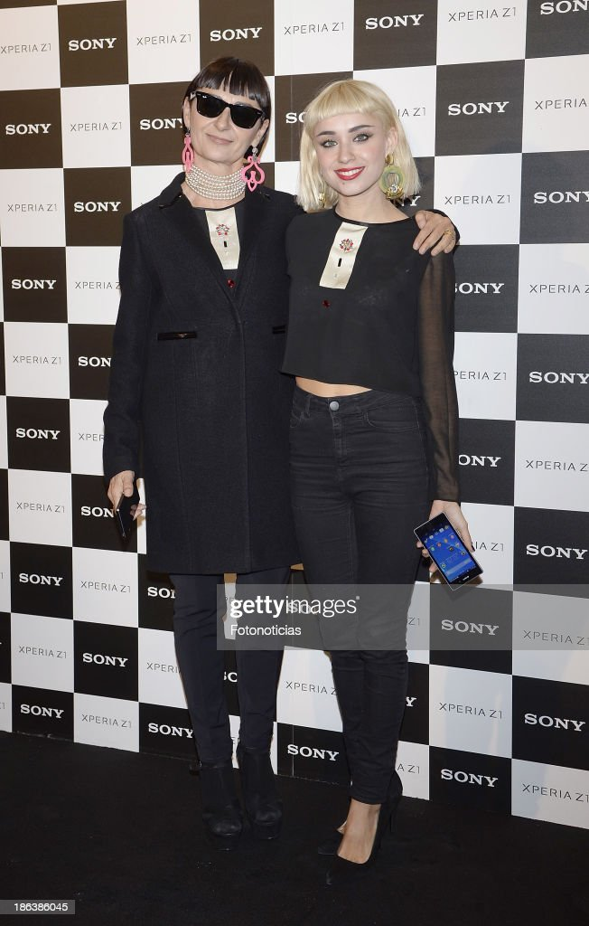 Lydia Delgado and Miranda Makaroff attend Sony Xperia Z1 photography exhibition at the Real Jardin Botanico on October 30, 2013 in Madrid, Spain.