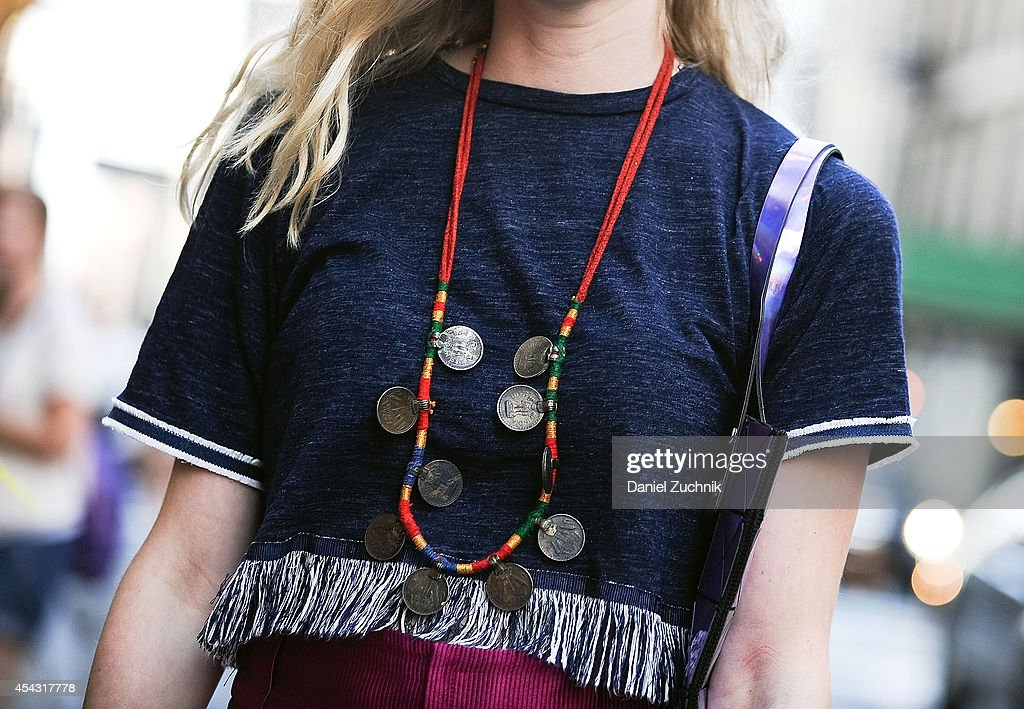 Lydia Gidwitz is seen around Soho wearing a vintage necklace from India on August 28, 2014 in New York City.