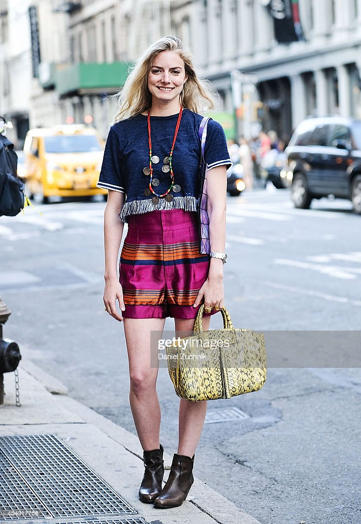Lydia Gidwitz is seen around Soho wearing Marc Jacobs shorts, Sam Edelman shoes, a Brian Atwood bag and a vintage necklace from India on August 28, 2014 in New York City.