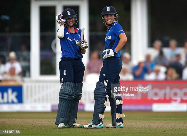Lydia Greenway and Natalie Sciver of England chat between overs during the 1st Royal London ODI of the Women's Ashes Series between England Women v...