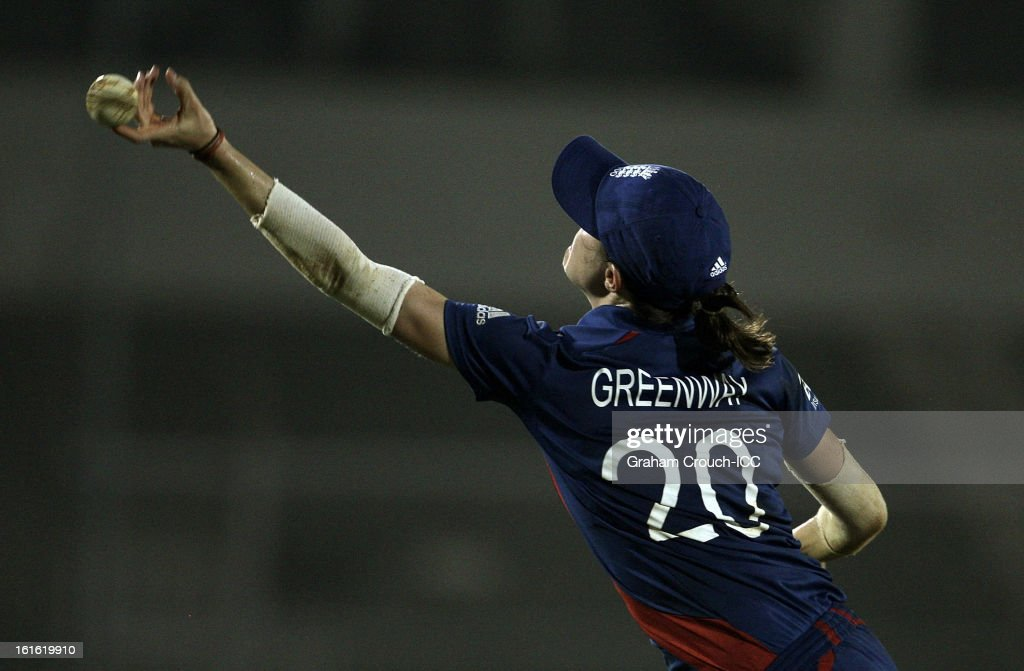 Lydia Greenway of England attempts a catch during the Super Sixes ICC Women's World Cup India 2013 match between New Zealand and England at the Cricket Club of India ground on February 13, 2013 in Mumbai, India.