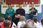 Lydia Greenway of England author David Tossell and England captain Charlotte Edwards take part in a QA session with children from Houghton Primary...