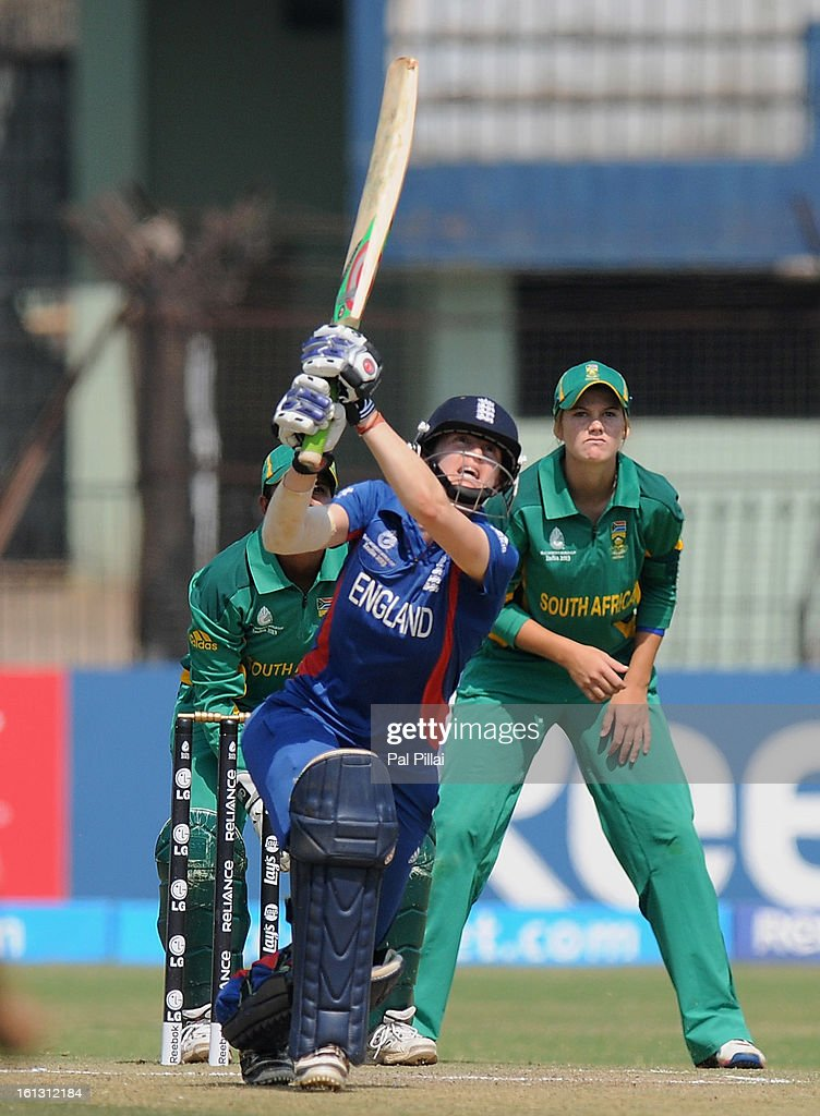 Lydia Greenway of England bats during the Super Sixes match held between England and South Africa at the Barabati stadium on February 10, 2013 in Cuttack, India.