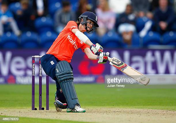Lydia Greenway of England hits out during the 3rd NatWest T20 of the Women's Ashes Series between England and Australia Women at SWALEC Stadium on...