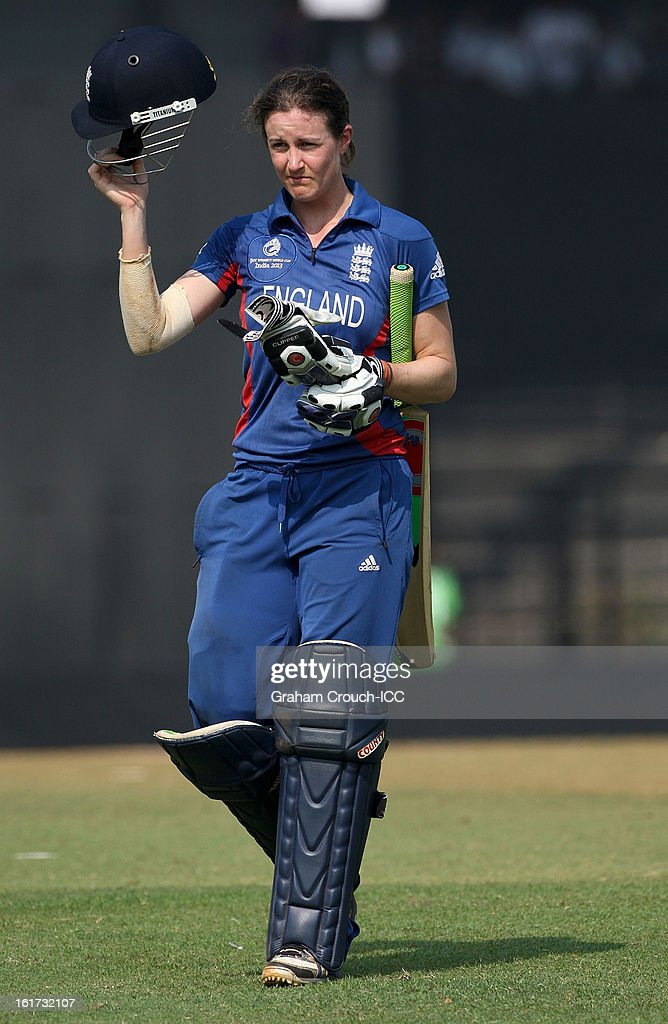 Lydia Greenway of England leaves after being dismissed during the 3rd/4th Place Play-Off game between England and New Zealand at the Women's World Cup India 2013 at the Cricket Club of India ground on February 15, 2013 in Mumbai, India.