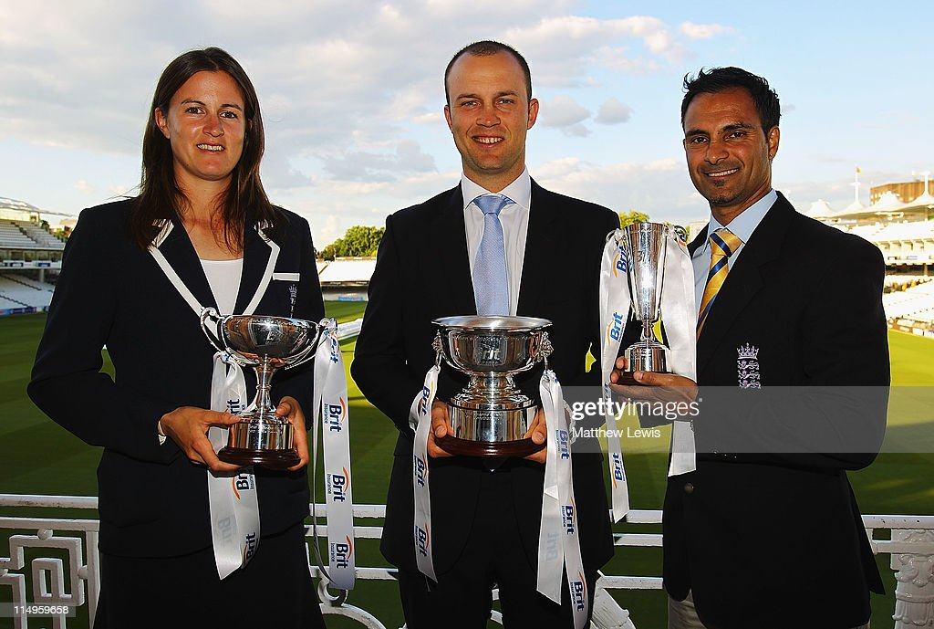 Lydia Greenway of England poses after winning the 'Womens Cricketer of the Year award', Jonathan Trott of England pictured after winning 'Mens Cricketer of the year' and Umesh Valjee of England pictured after winning the 'Disability Cricketer of the Year Award' during the ECB Cricketer of the Year Dinner at Lord's Cricket Ground on May 31, 2011 in London, England.
