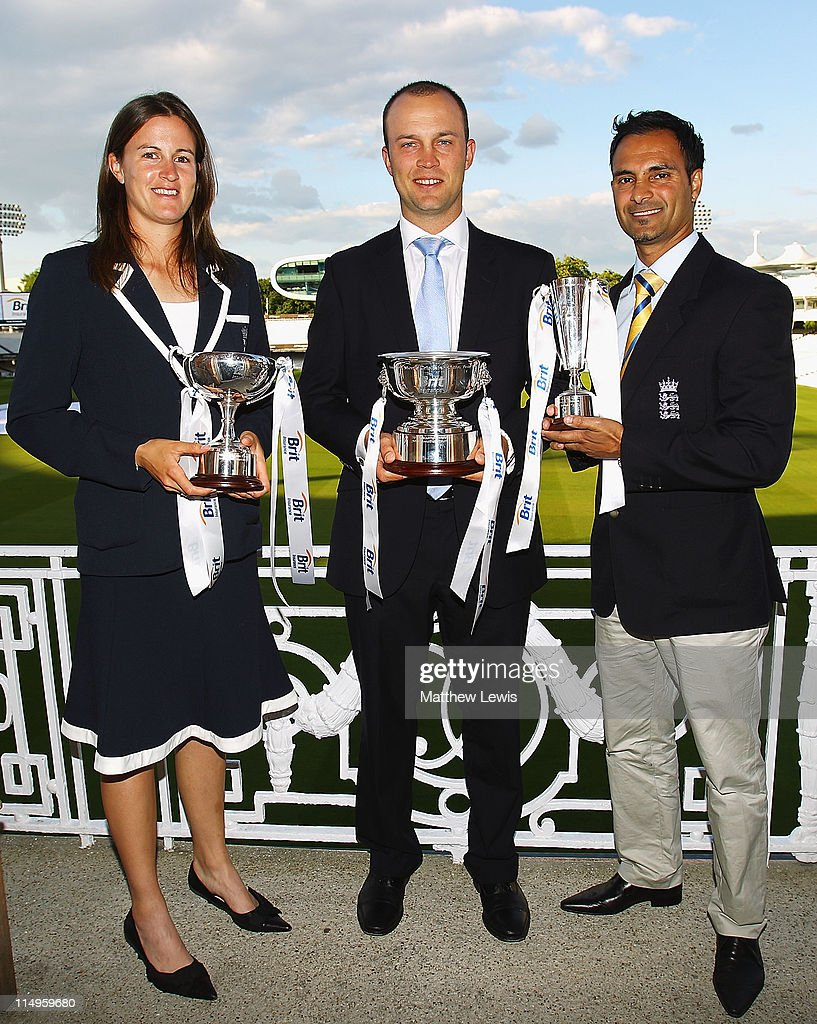Lydia Greenway of England poses with the 'Womens Cricketer of the Year award', Jonathan Trott of England poses after winning 'Mens Cricketer of the year' and Umesh Valjee of England poses after winning the 'Disability Cricketer of the Year Award' during the ECB Cricketer of the Year Dinner at Lord's Cricket Ground on May 31, 2011 in London, England.