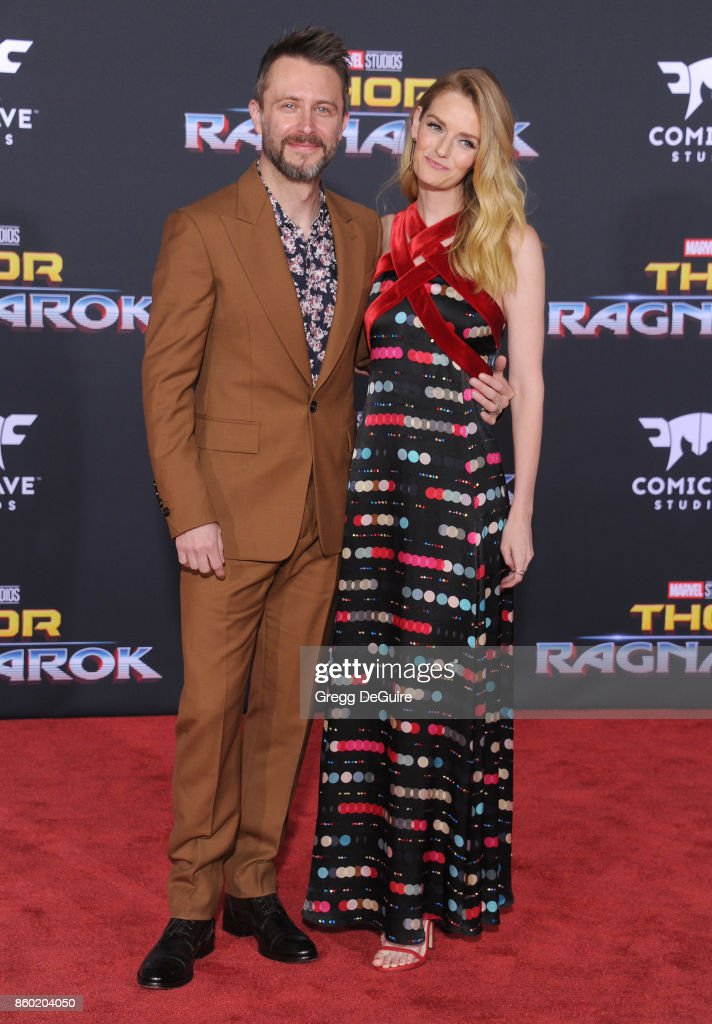 Lydia Hearst and Chris Hardwick arrive at the premiere of Disney and Marvel's 'Thor: Ragnarok' at the El Capitan Theatre on October 10, 2017 in Los Angeles, California.