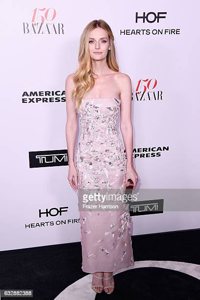 Lydia Hearst attends Harper's BAZAAR celebration of the 150 Most Fashionable Women presented by TUMI in partnership with American Express La Perla...