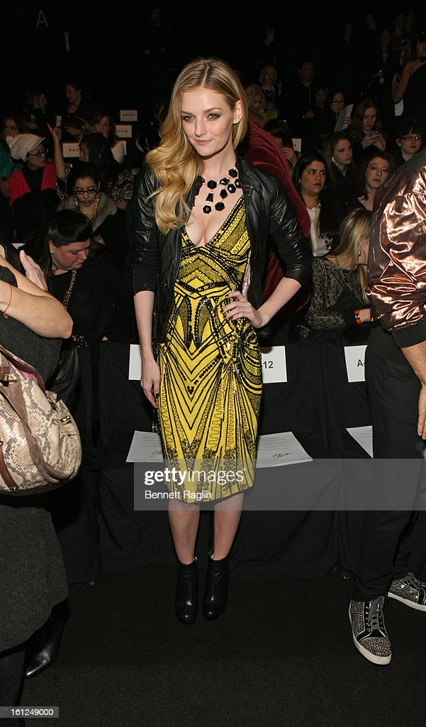 Lydia Hearst attends Monique Lhuillier during Fall 2013 Mercedes-Benz Fashion Week at The Theatre at Lincoln Center on February 9, 2013 in New York City.