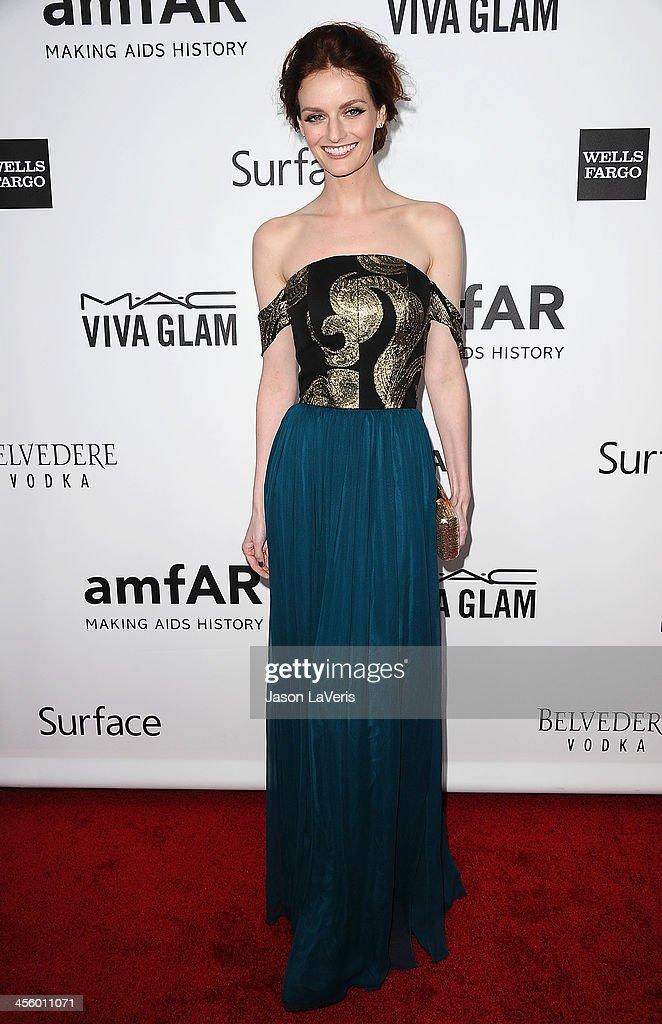Lydia Hearst attends the amfAR Inspiration Gala at Milk Studios on December 12, 2013 in Hollywood, California.
