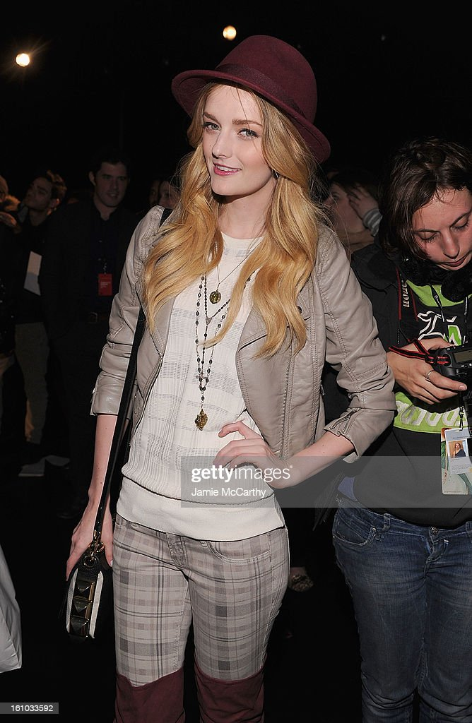 Lydia Hearst attends the Charlotte Ronson Fall 2013 Mercedes-Benz Fashion Week Presentation at the Box at Lincoln Center on February 8, 2013 in New York City.