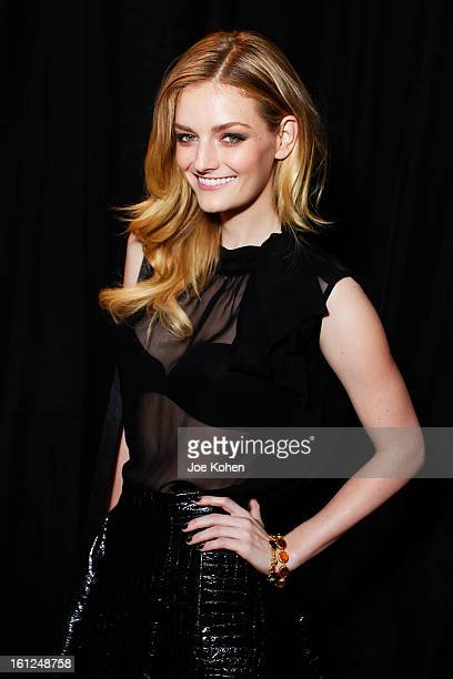 Lydia Hearst attends the Christian Siriano Fall 2013 fashion show during MercedesBenz Fashion Week on February 9 2013 in New York City