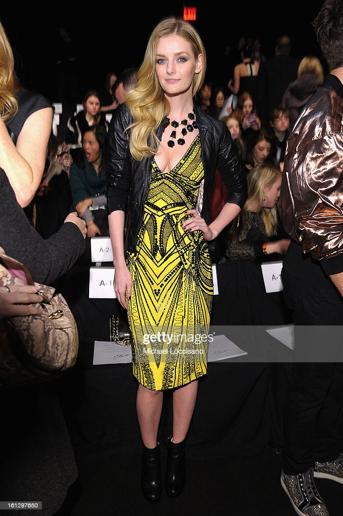 Lydia Hearst attends the Monique Lhuillier Fall 2013 fashion show during Mercedes-Benz Fashion at The Theatre at Lincoln Center on February 9, 2013 in New York City.