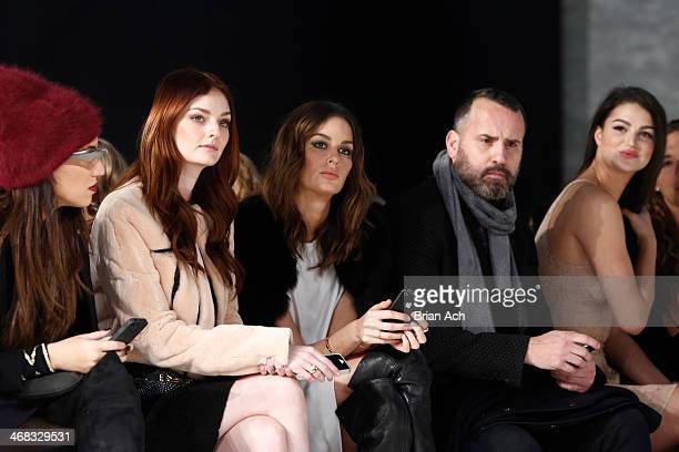 Lydia Hearst Nicole Trunfio and Lily Lane attend the Mathieu Mirano fashion show during MercedesBenz Fashion Week Fall 2014 at The Pavilion at...