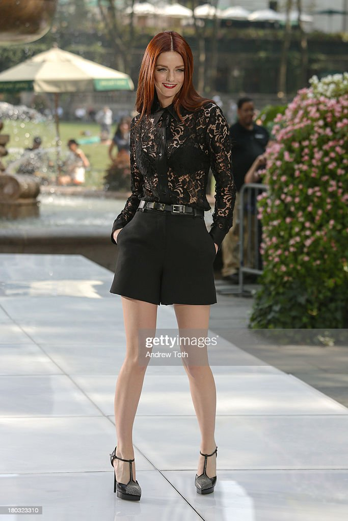 <a gi-track='captionPersonalityLinkClicked' href=/galleries/search?phrase=Lydia+Hearst&family=editorial&specificpeople=221723 ng-click='$event.stopPropagation()'>Lydia Hearst</a> takes part in the 'The Face' Season 2 Pop Up Fashion Show at Bryant Park on September 11, 2013 in New York City.