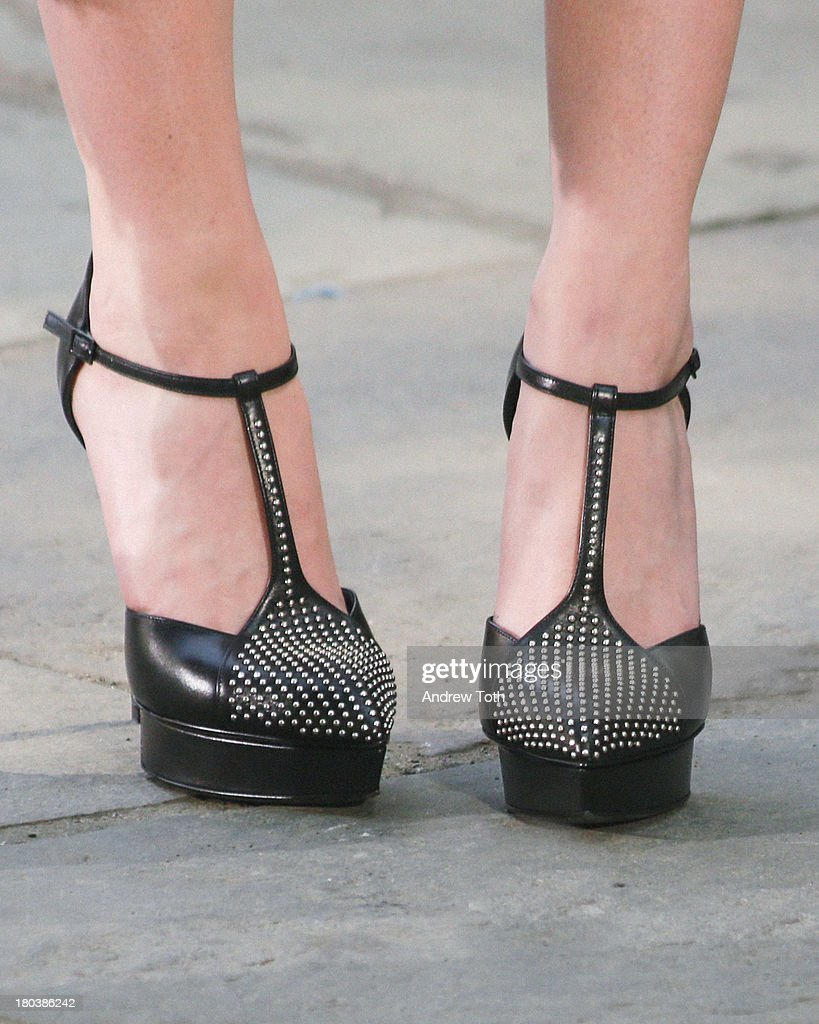 <a gi-track='captionPersonalityLinkClicked' href=/galleries/search?phrase=Lydia+Hearst&family=editorial&specificpeople=221723 ng-click='$event.stopPropagation()'>Lydia Hearst</a> (shoe detail) takes part in the 'The Face' Season 2 Pop Up Fashion Show at Bryant Park on September 11, 2013 in New York City.