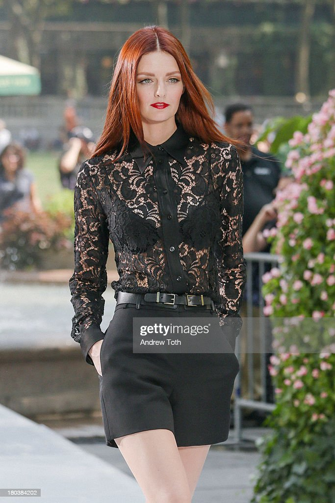 <a gi-track='captionPersonalityLinkClicked' href=/galleries/search?phrase=Lydia+Hearst&family=editorial&specificpeople=221723 ng-click='$event.stopPropagation()'>Lydia Hearst</a> walks the runway in the 'The Face' Season 2 Pop Up Fashion Show at Bryant Park on September 11, 2013 in New York City.