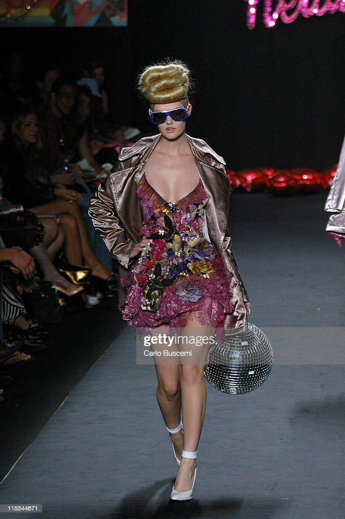 Lydia Hearst wearing Heatherette Spring 2006 during Olympus Fashion Week Spring 2006 Heatherette Runway at Bryant Park in New York City New York...