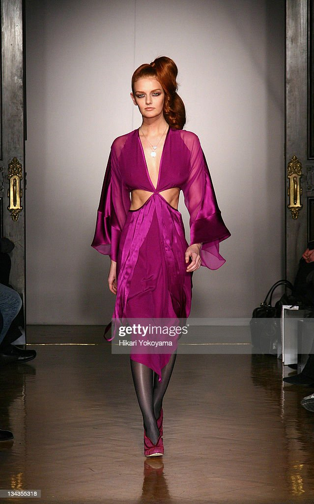Lydia Hearst wearing ThreeAsFour Fall 2007 during MercedesBenz Fashion Week Fall 2007 ThreeAsFour Runway at National Arts Club in New York City New...