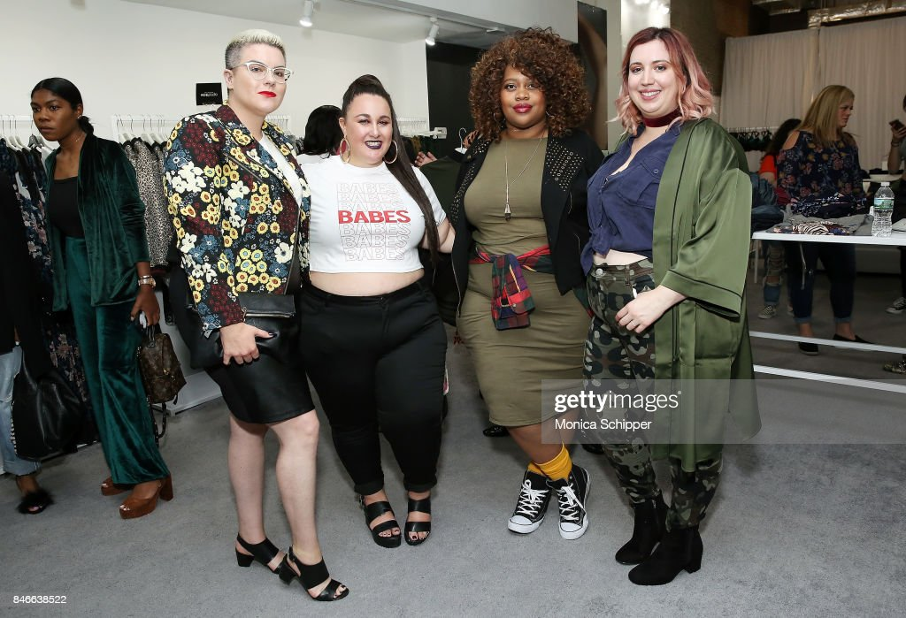 Lydia Hudgens, Alysse Dalessandro, Sabrina Servance and host Liz Black pose for a photo at the Jordyn Woods meet & greet at Addition Elle on September 13, 2017 in New York City.