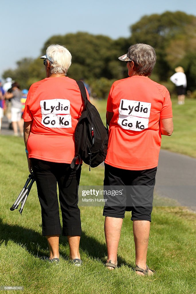 Lydia Ko fans show their support during the 1st round of the New Zealand Women's Open at Clearwater Golf Club on February 12, 2016 in Christchurch, New Zealand.