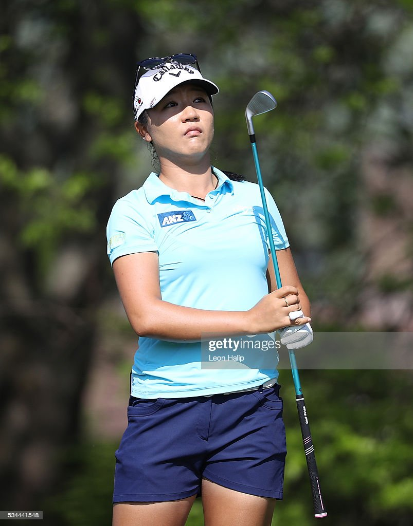 Lydia Ko from New Zealand hits her tee shot on the sixteenth hole during the first round of the LPGA Volvik Championships on May 26, 2016 at Travis Pointe Country Club Ann Arbor, Michigan.
