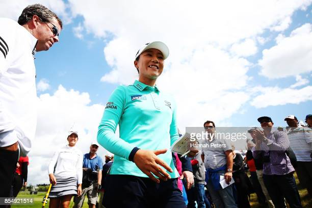 Lydia Ko of New Zealand acknowledges the crowd after finishing her round during day one of the McKayson New Zealand Women's Open at Windross Farm on...
