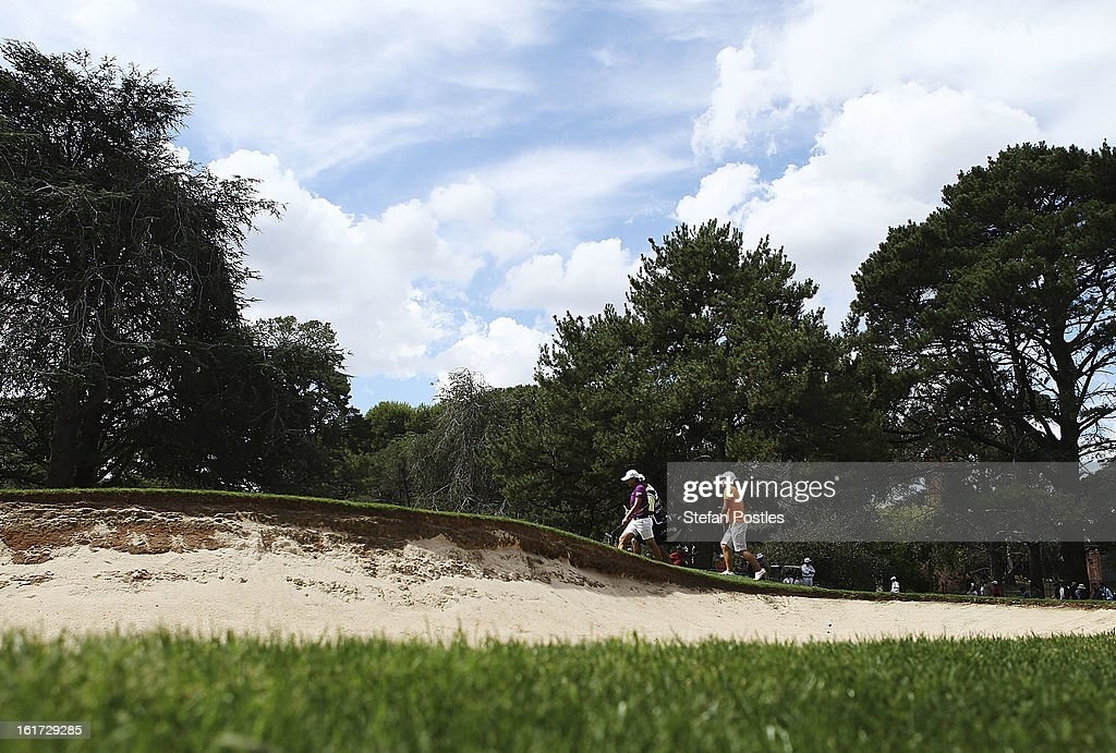 Lydia Ko of New Zealand and Yani Tseng of Taiwan approach the 10th green during day two of the ISPS Handa Australian Open at Royal Canberra Golf Club on February 15, 2013 in Canberra, Australia.