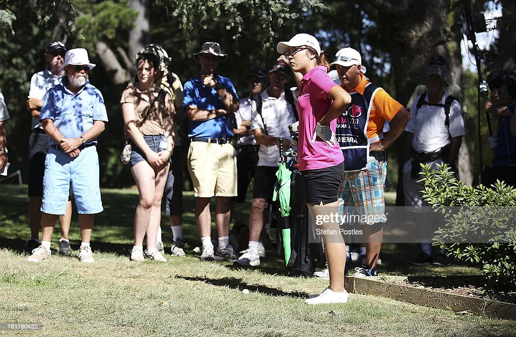 Lydia Ko of New Zealand assesses her options after over shooting the 12th green during day three of the ISPS Handa Australian Open at Royal Canberra Golf Club on February 16, 2013 in Canberra, Australia.