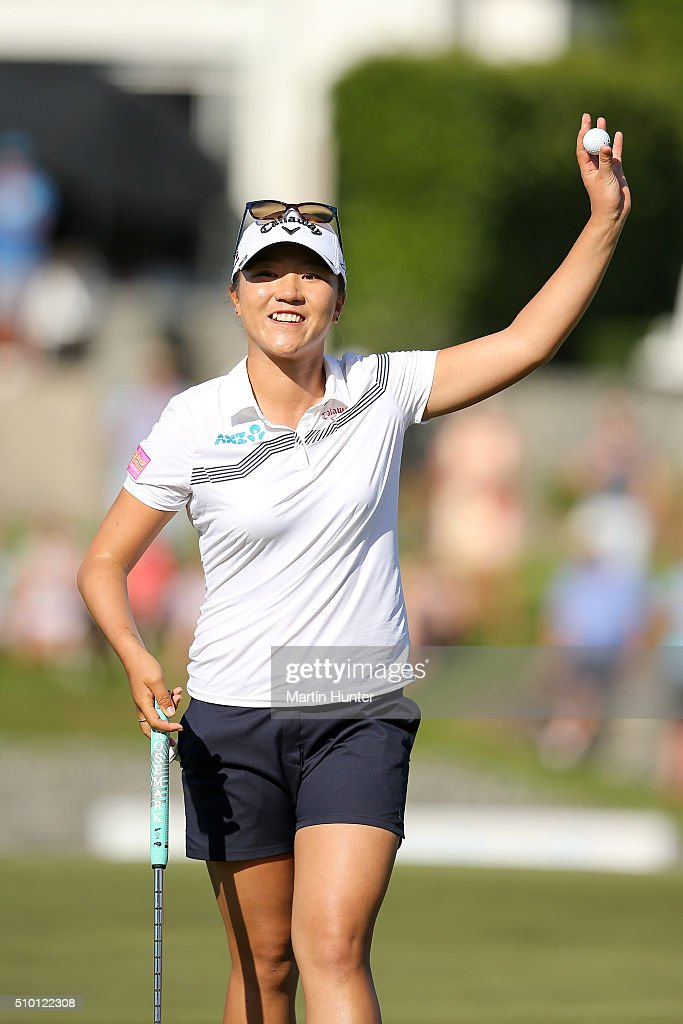 <a gi-track='captionPersonalityLinkClicked' href=/galleries/search?phrase=Lydia+Ko&family=editorial&specificpeople=5817103 ng-click='$event.stopPropagation()'>Lydia Ko</a> of New Zealand celebrates after winning the New Zealand Women's Open at Clearwater Golf Club on February 14, 2016 in Christchurch, New Zealand.