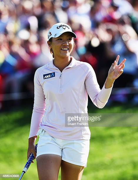 Lydia Ko of New Zealand celebrates winning on the 18th hole during the final round of the Evian Championship Golf on September 13 2015 in...