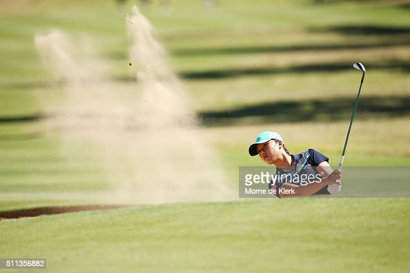 Lydia Ko of New Zealand hits from the bunker during day three of the ISPS Handa Women's Australian Open at The Grange GC on February 20 2016 in...