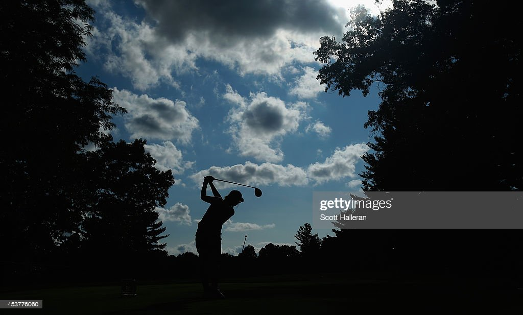 <a gi-track='captionPersonalityLinkClicked' href=/galleries/search?phrase=Lydia+Ko&family=editorial&specificpeople=5817103 ng-click='$event.stopPropagation()'>Lydia Ko</a> of New Zealand hits her tee shot on the 12th hole during the final round of the Wegmans LPGA Championship at Monroe Golf Club on August 17, 2014 in Pittsford, New York.